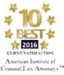 2016 - 10 Best Client satisfaction - American Institute of Criminal Law Attorneys(TM)